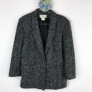 CGNY Wool Blend One Button Tweed Jacket 10